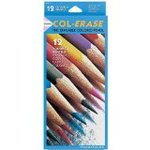 Col-Erase Colored Woodcase Pencils w/ Eraser, 12 Assorted Colors/